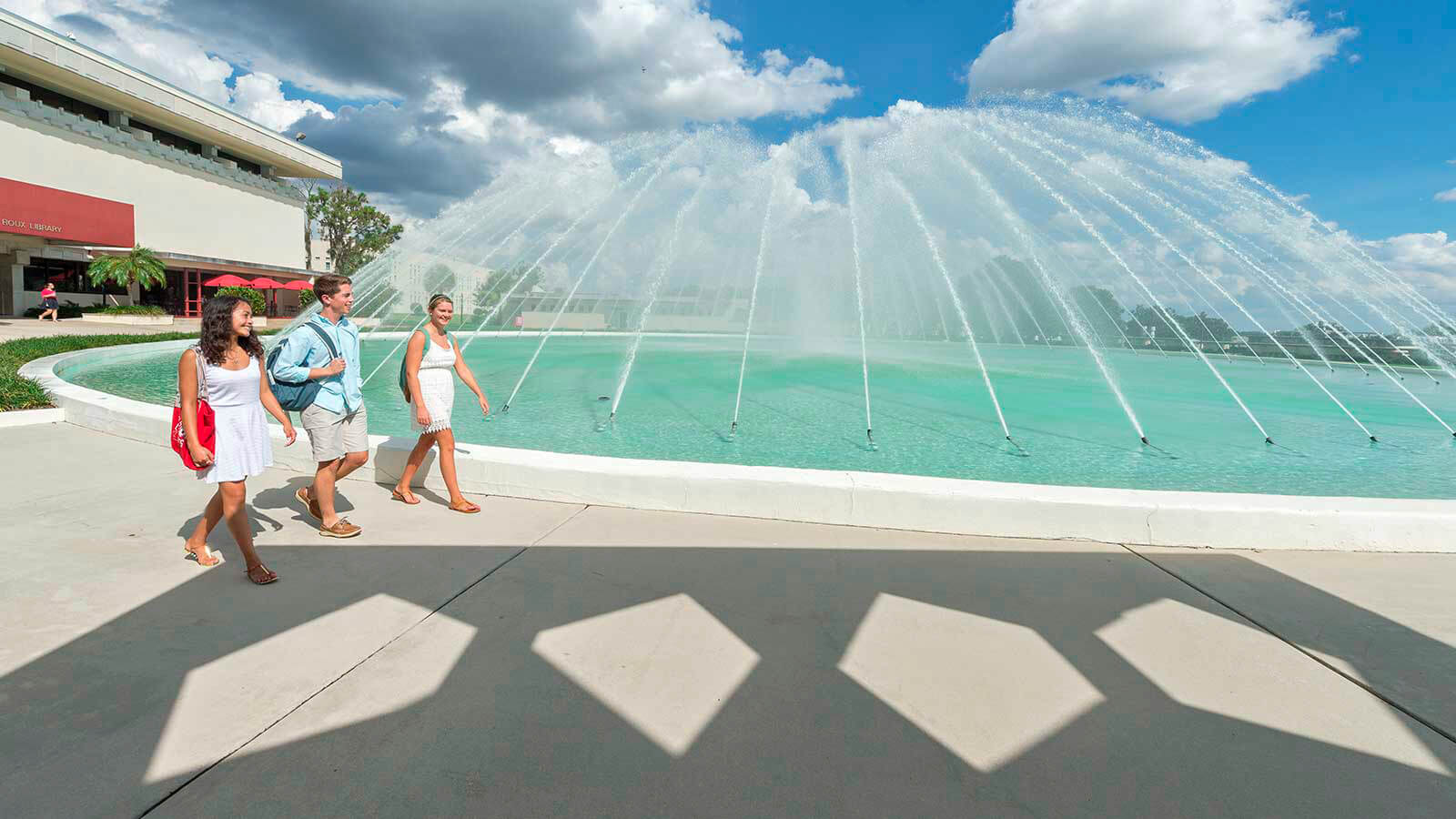 A view of a fountain on the Florida Southern College campus.