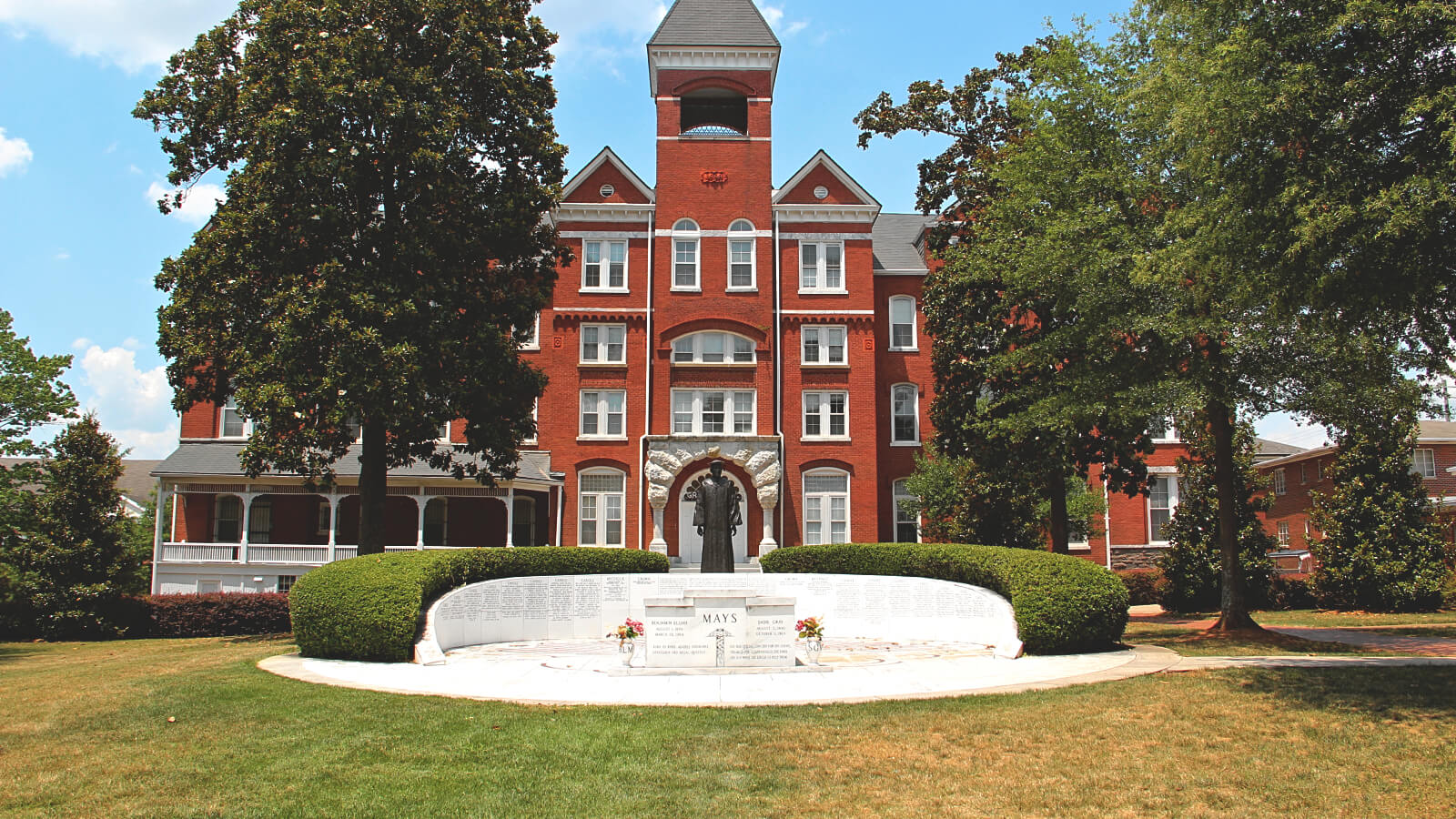An image of a red building on the Morehouse College campus.