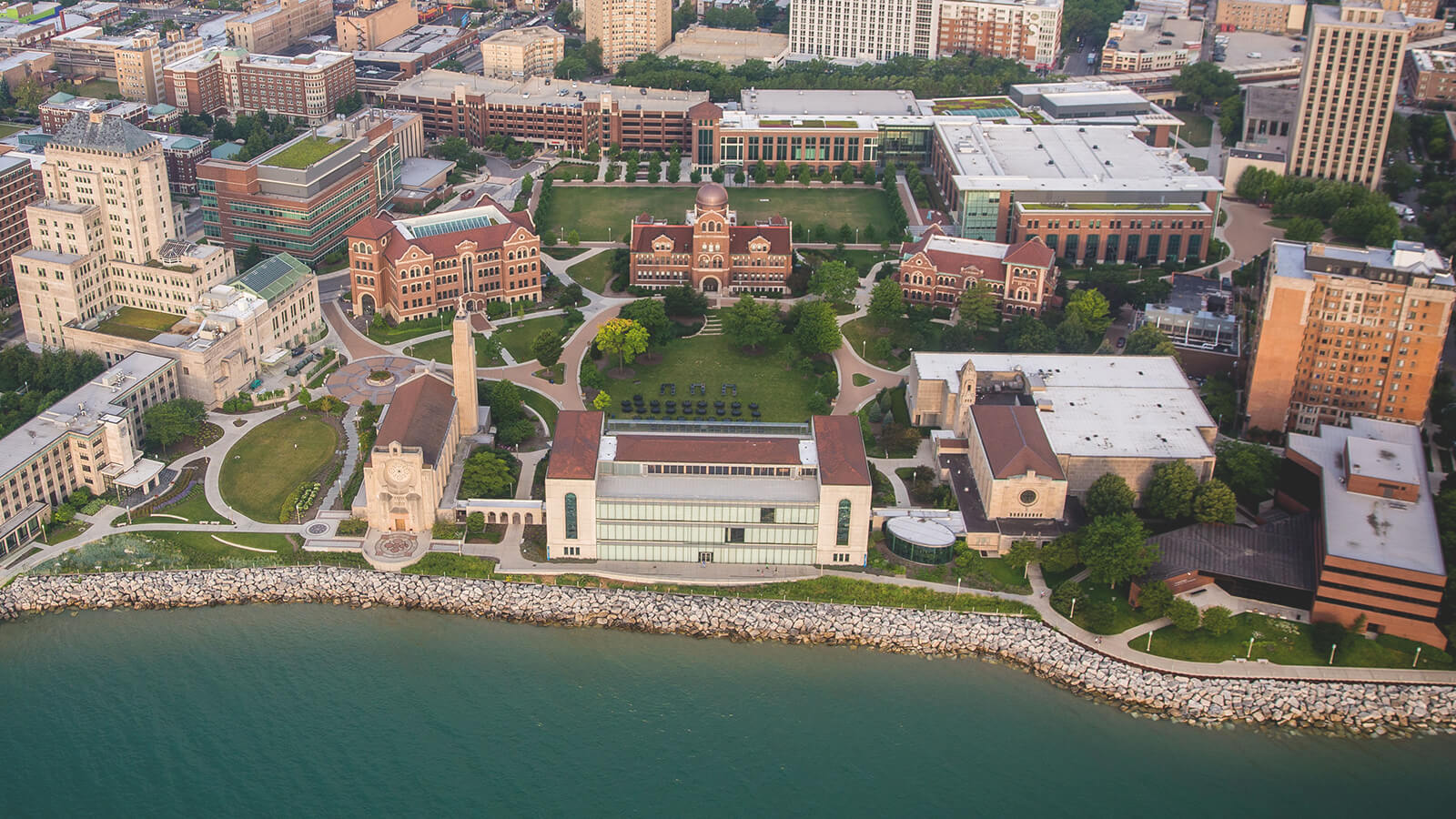 An overhead view of the Loyola University Chicago campus.