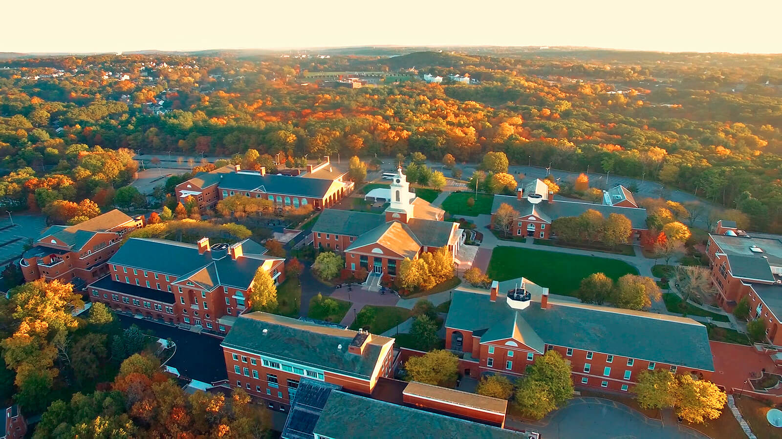 An overhead picture of the campus at Bentley University.