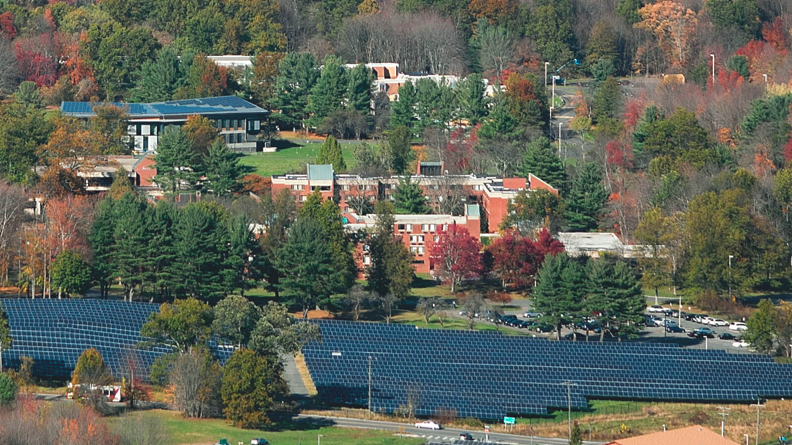 An overhead view of the campus at Hampshire College.