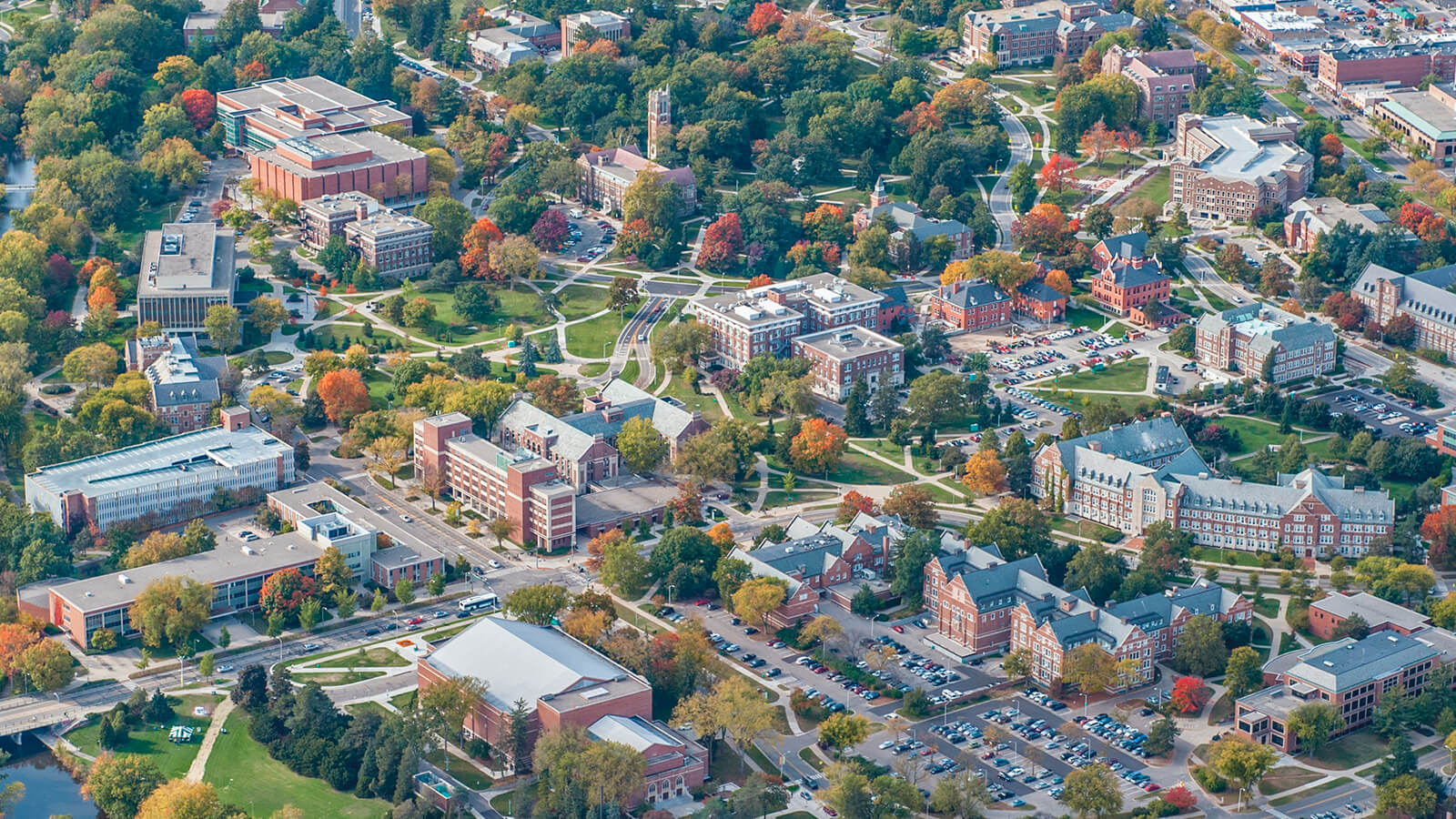 An overhead view of the campus at Michigan State University