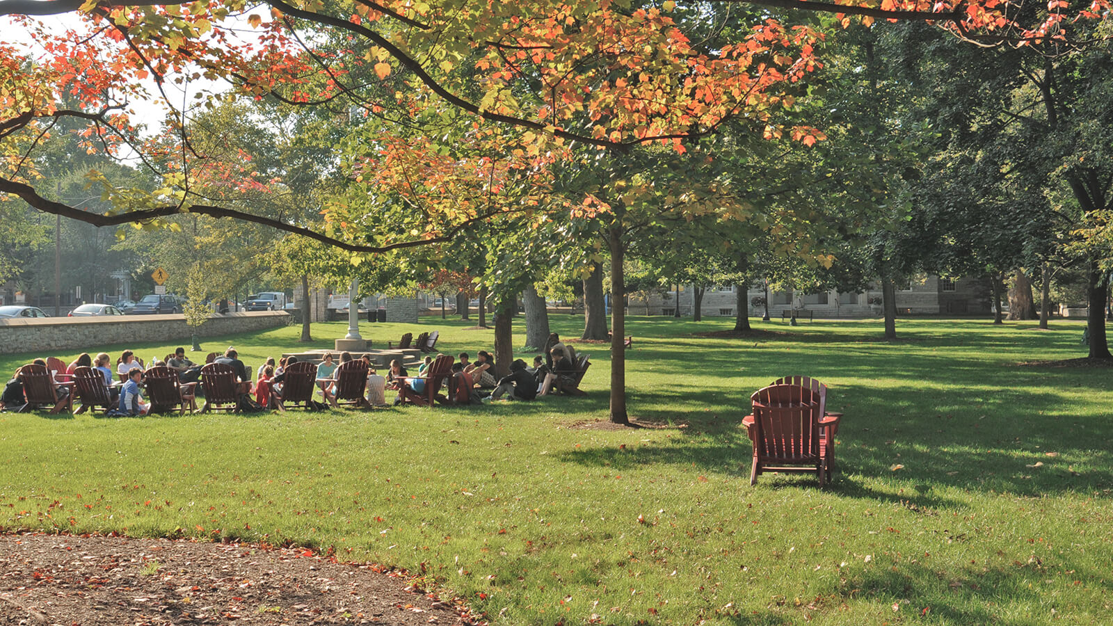 A picture of a green area on campus at Dickinson College.