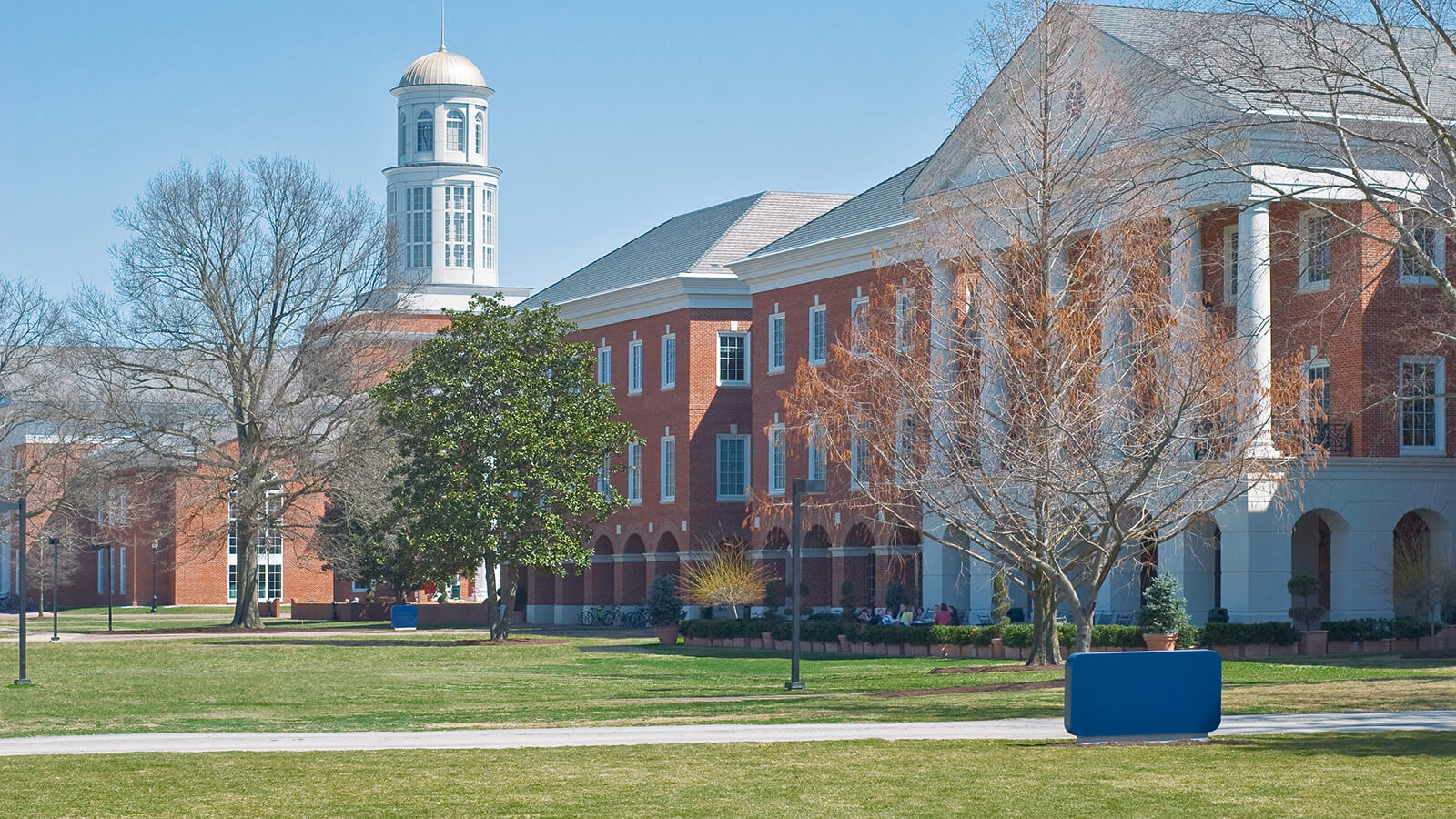 A view of a campus building at Christopher Newport University