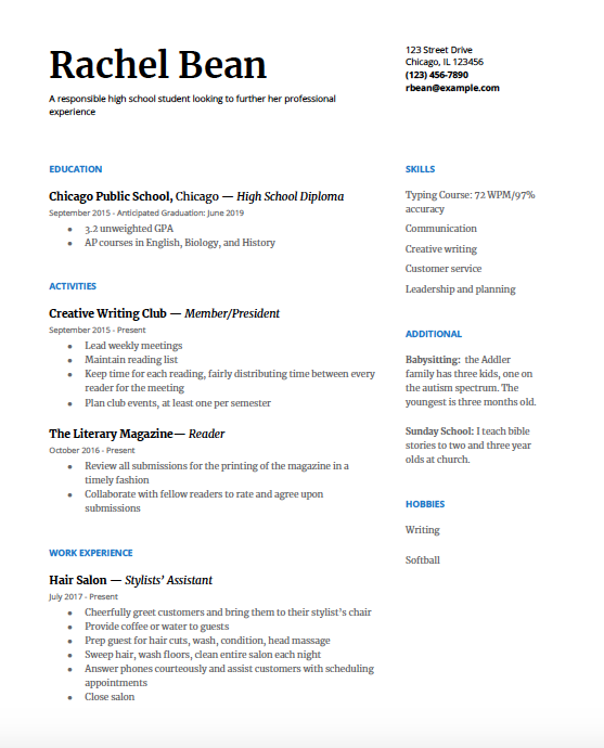 High School Resume A Step By Step Guide